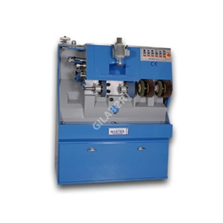 Maquina de finisaje con bandas de lija sin fin de 75 y 40 x 1,480 mm, con motores independientes. Conjunto revolver de dos fre